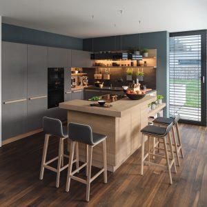 Interior Gent, grote showroom met massieve keukens in europese houtsoorten. Kom langs!