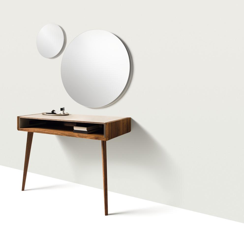TEAM 7 Sol kaptafel en ronde spiegel met evt verlichting - Interior Gent