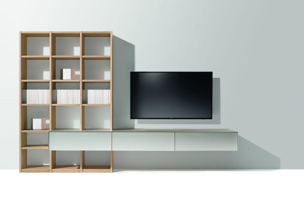 TEAM7 cubus pure Tv wand in eik en glas - Nieuw parelmoerkleur -