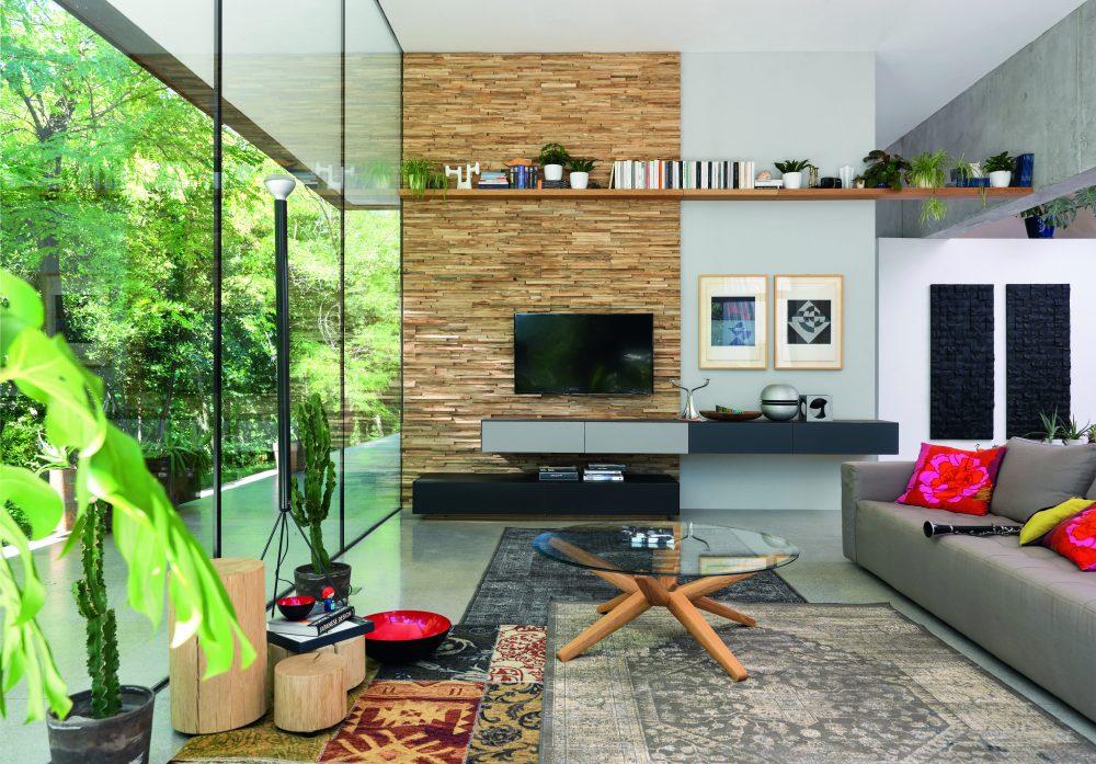 TEAM 7 cubus pure Tv and in notelaar en glas + Waldkante